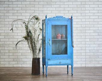 Bar Cabinet Reclaimed Vintage Indian Curio Cabinet Media Cabinet Blue Bathroom Cabinet Towel Cabinet Boho Furniture Moroccan Decor