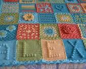 RESERVED Custom Order - Shabby Flower Heart Granny Square Afghan Blanket Throw