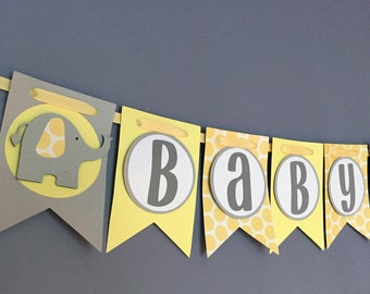 Baby Shower Banner Garland Yellow and Grey Elephant - Gender Neutral - Gender Reveal - Baby Boy Baby Girl