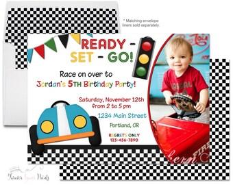 Race Car Invitation, Race Car Invite, Boys Birthday Invitation, Race Car Party, Racing Birthday Invitation, Printable Race Car, Boys Party