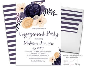 FLORAL Engagement Party Invitation, Engagement Invitation, Bridal Shower Invitation, Wedding Shower Invitation, Bridal Invite, Purple