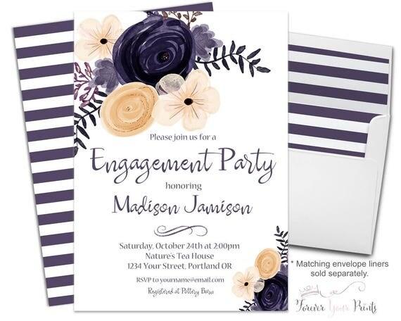 FLORAL Engagement Party Invitation, Engagement Invitation, Bridal Shower Invitation, Wedding Shower Invitation, Bridal Invite, Purple