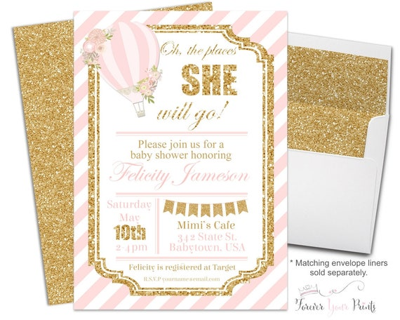 Balloon Baby Shower Invitation - Hot Air Balloon Invite - Baby Shower Invitation Girl - Baby Girl Invitation - Up Up and Away - Pink & Gold