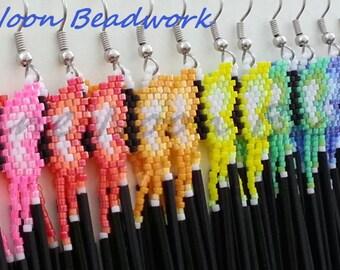Native American Beaded Earrings - Rainbow Butterflies - Set of 8