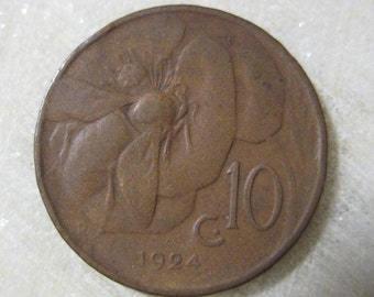 1924, Italy, Copper Coin, 10 Centesimi, Honey Bee and Vittorio Emanuele III