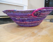 Modern purple and violet fabric-wrapped clothesline bowl/basket