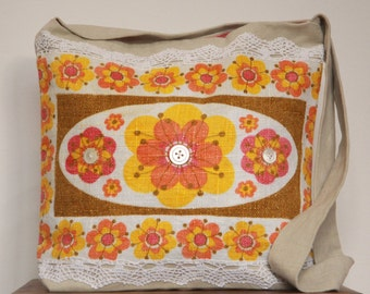 Crossbody bag, vintage linen panel with lace & Victorian buttons