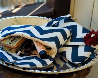 Clearance - ready to ship - clutches - bridesmaids clutch - bridesmaid clutch - clutch - navy blue chevron clutch
