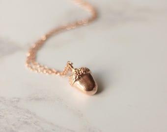 Acorn necklace, rose gold acorn necklace, woodland jewellery, nature jewellery