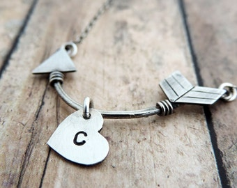 Heart Initial Necklace - Sterling Silver Arrow Pendant - Personalized Jewelry - Boho Necklace - Valentine Gift - Cupid's Arrow