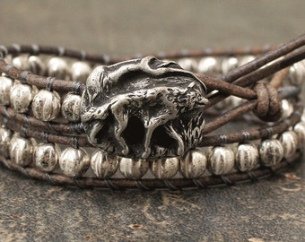 Silver Wolf Bracelet Gray Leather Wolf Jewelry