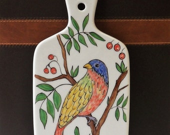 Painted Bunting Bird Cheese Cutting Tile