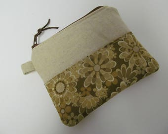"Zipper Pouch/4.5""x5""/Linen x Brown Flower"