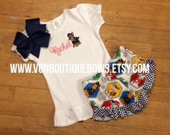 Paw puppy chase Bow navy Ruffle Shorts Matching Boutique Hairbow 1st 2nd 3rd 4th Girls Short Long Sleeve Shirt Tank Top flutter icing