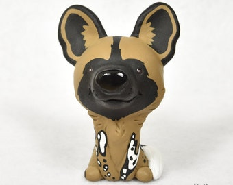 Hand Sculpted Painted African Wild Dog Derp Figurine