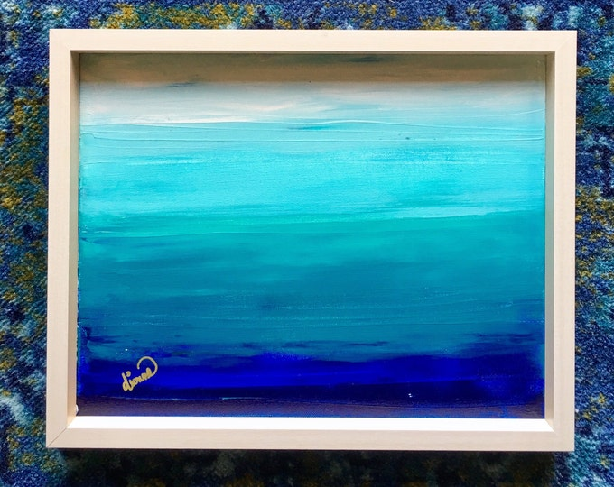 """Seascape Original Abstract Acrylic Painting 11"""" x 14"""" x 1"""" titled, Layers"""