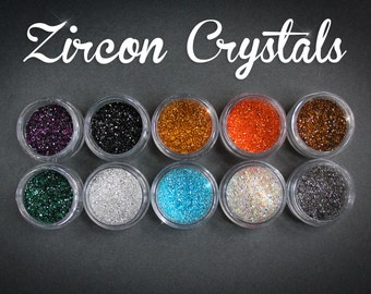 MICRO CRYSTALS real Zircon diamonds Emerald Amethyst Aquamarine Topaz black green blue red brown nailart