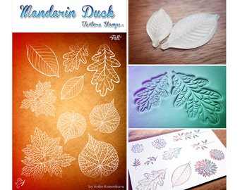 FALL Mandarin Duck Texture Stamp - silicone, polymer, ink, papercrafts, fabric, polymer clay