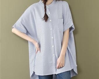 Loose Fitting Cotton Shirt Blouse for Women  - Women Top- Women Clothing (R)