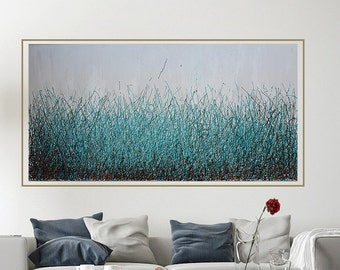 Teal, turquoise abstract painting,modern abstract art,large wall art,thick, heavy textured painting,