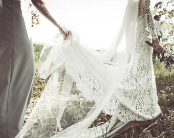 Lace Wedding Dress, Lace Wedding Dress with Sleeves, Open Back Wedding Dress, Bohemian Wedding Dress