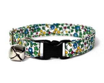 "Multicoloured Floral Liberty Cat Collar - ""Katherine"""