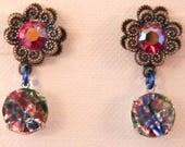 Earrings, Vintage Banana Bob Findings, Swarovski, Glass Gems, Never Worn
