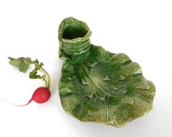 Vintage Cabbage Leaf Relish Dish w Dip Bowl Vacuum Cooling Advertising