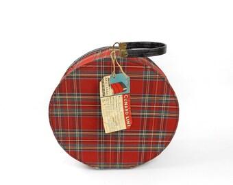 Vintage Round Hat Box Red Plaid Luggage Cunard Tag Decals Queen Elizabeth