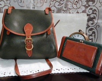 Vintage Dooney and Bourke Purse and Wallet AWL Green pebbled leather britsh tan