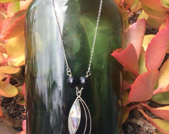 Abalone and Onyx pendent necklace Solid sterling silver 925 black Moonstone beads