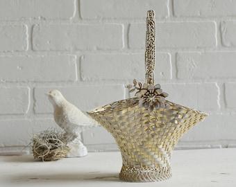 Easter Basket, Wedding Basket, Gold Easter Basket, Metal Basket, Metal Weave Basket, Floral Basket, Gold Weave Basket, Spring Basket