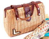 1960s, Wicker, Rattan, Straw, Natural Fiber, Purse, Clutch, Satchel, Handbag, Lined, Brass feet and Twist Clasp