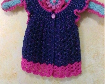 Hand Crocheted Baby Girl Navy and Magenta Pinafore Dress with Gift Hanger Free Shipping