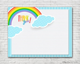 Cheerful Rainbow Thank You Card - Instant Download