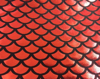 Red mermaid fish scale spandex fabric