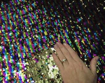 Rainbow color changing sequin mermaid reverse flip stretch fabric by the yard