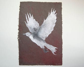 White Crow No. 6 – pulp painting of crow on handmade corduroy / cotton paper (2016), Item No. 239.06