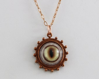 Handmade Glass Bobcat Eye Eyeball  Necklace Glass Eye Set in a Silver Plated Brass Setting 22 inch Chain with Catch  Oscarcrow