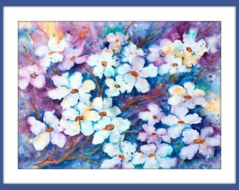 Painterly White Apple Cherry Blossoms Watercolor on Gesso by Martha Kisling