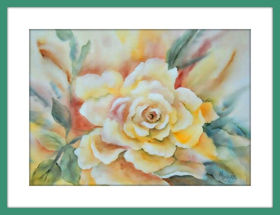 Yellow Rose, large Rose, Rose Art, Watercolor Rose, Yellow Gold, Olive Green. Green and Gold, Art With Heart, Martha Kisling