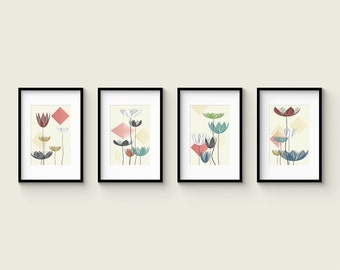 SUMMER LOTUS - Collection of 4 Abstract Modern Lotus Flower Prints in a Mid Century Modern and Contemporary Style