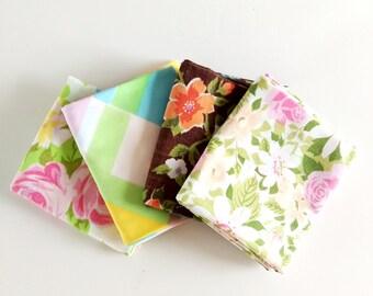 """Vintage Fabric Fat Quarters, Bundle of 4 """"Old Roses"""", vintage sheets, reclaimed vintage linens"""