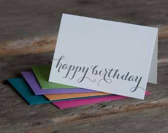 happy birthday typography letterpress cards, letterpress printed card. Eco friendly