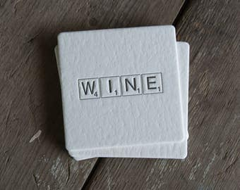 WINE Scrabble tile Coasters, (Letterpress printed, 3.5 inches) set of 4, perfect gift for the wine lover in your life
