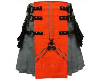 Interchangeable Charcoal Grey Canvas Cargo Utility Kilt Orange Front Y Design Gunmetal Metals Custom Fit Adjustable Many Options