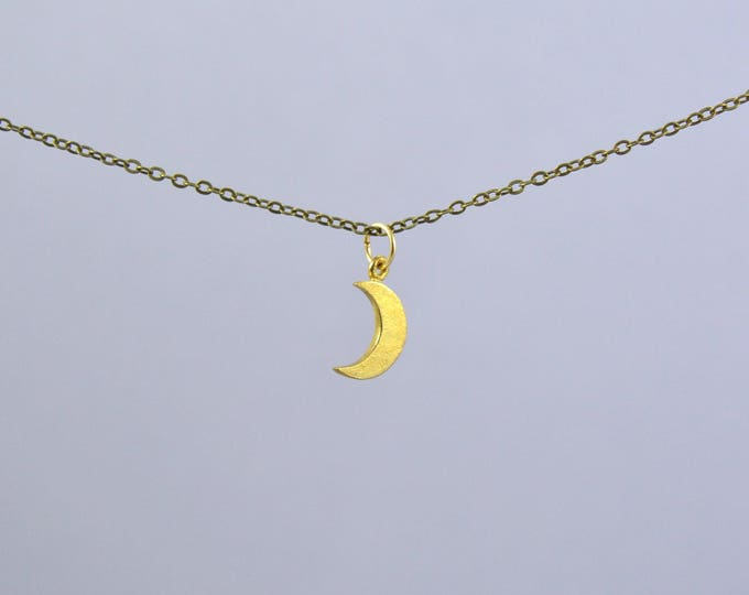 Crescent Moon Minimal Necklace, Sterling Silver Moon Necklace, Luna Jewelry, Luna Crescent Moon, Silver Moon, Half Moon Necklace