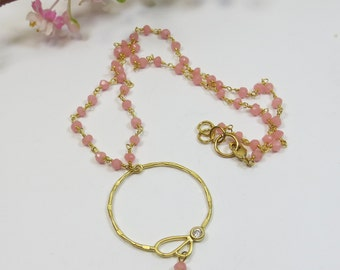 Pink Opal Crystal with a Ring Pendant Necklace, Pink Wirewrapped Crystal Gemstone Pendant Necklace, Goldplated Gold Pink Crystal Necklace