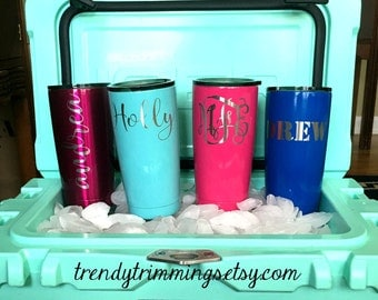 20 oz Ozark Trail™- Engraved/Etched Powder Coated Stainless Steel Tumbler Cup- performs like Yeti, RTIC, SIC- monogram, name, logo, custom