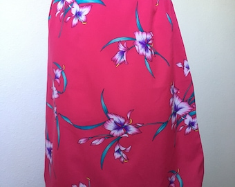 Vintage tropical floral Hawaiian skirt, 70s 1970s midi skirt, hot pink fuchsia magenta, 80s 1980s midi, fuchsia floral skirt, S small XS 24""